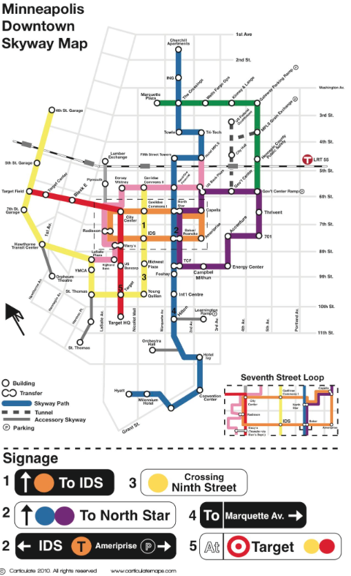 graphic regarding Minneapolis Skyway Map Printable titled Downtown Minneapolis Skyway Map
